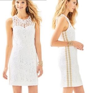 Lilly Pulitzer Lace Dress White with Gold Trim